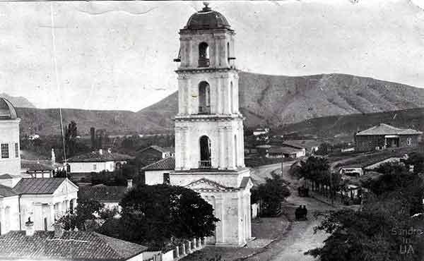 Разрушенная позднее колокольня в Судаке - старое фото